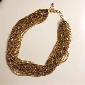 Multi layer cluster gold necklace